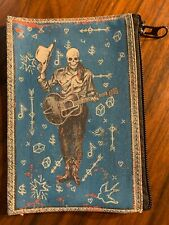 Kitschy Canvas Skully Skeleton w/ Guitar Skull Coin Purse Makeup Cosmetic Bag