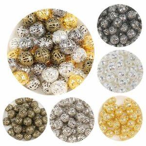 50pcs-200pcs Hollow Ball Metal Beads 4/6/8/10/12mm Loose Flower Spacer Bead Jewe