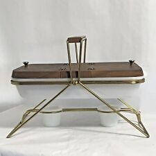 Vintage MCM Retro Glasbake Divided Casserole Dish Double Warming Stand Wood Lid