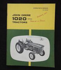 1965-66 John Deere 1020 Hu Ru Lu Utility Tractor Operators Manual Sohio Minty
