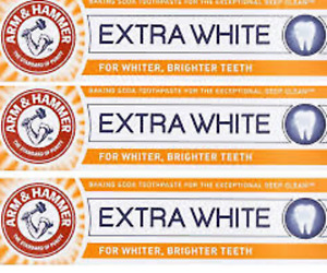 3 Tubes of Arm & Hammer Extra White Toothpaste 125g Tubes - Free Post