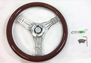 "14"" 3 Spoke Alum Steering Wheel Real Wood Wrap 5 Slot Hot Rod withHorn & Adapter"