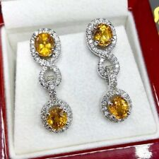 Dangling! 6.17TCW Yellow Sapphire Diamond 18K solid White gold earrings natural