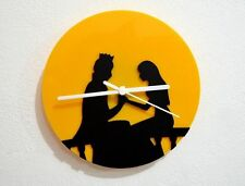 Prince and Princess - Black & Yellow Silhouette - Wall Clock