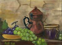 VINTAGE PURPLE GREEN GRAPES VINES STEIN JUICE GARDEN FRUIT KITCHEN OIL PAINTING