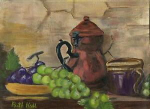 VINTAGE PURPLE GREEN GRAPES VINES STEIN JUICE GARDEN FRUIT KITCHEN OIL PAINTING