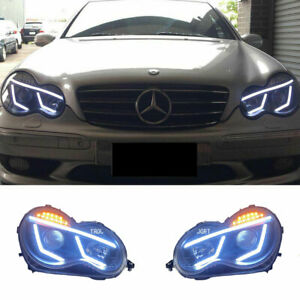 For Benz C-Class W203 LED Headlights Projector LED DRL Replace OEM Halogen 01-07