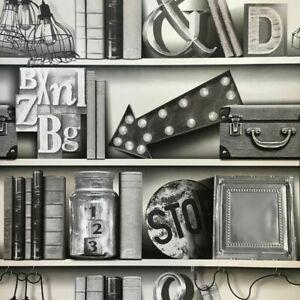 Arthouse Upcycle Mono Grey Bookshelf Wallpaper 694200