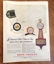 1956 Seth Thomas Clocks Ad Let America's Oldest Name in Time Solve Gift Problems