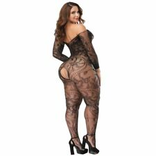 Large Flower Fishnet Crotchless Bodystocking Plus Size Bodysuit With Sleeves