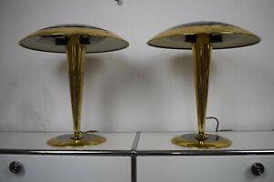 Paar Egoluce 2010 Schreib/Nacht-Tisch-Lampe/Leuchte Messing Pilz Art Deco