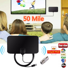 UK Thin Freeview Indoor Amplified Digital TV Aerial HDTV Antenna 50 Mile Range