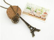 Vintage Bronze Paris Eiffel Tower Crown Long Chain Pendant Necklace Jewelry