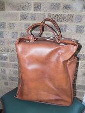 vintage tan faux leather holdall shopping tote scooter Mod travel bag