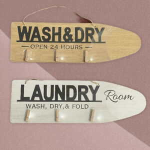 "SETS WASH & DRY Hanging Wood Sign with Clothes Pins LAUNDRY 15""X 5"""