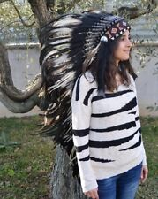 PRICE REDUCED E12- Extra Large White Feather Headdress(43 inch long)/war bonnet