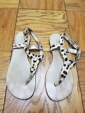 Roberto Cavalli Leopard Print Canvas T strap flat Sandals Size 37