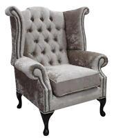 Chesterfield Queen Anne High Back Fireside Wing Chair Shimmer Mink Velvet