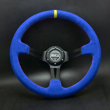 350mm Blue Suede Leather Deep Dish Steering Wheel SPC Drifting Race OMP Yellow S
