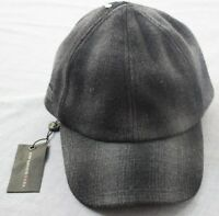 John Varvatos Star USA Logo Black Gray Plaid Wool Adj Leather Cap Hat NWT  S/M