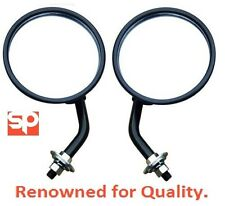 Round Wing Mirrors With Arms (PAIR) HINGE MOUNTED FOR Land Rover Series 2 2A