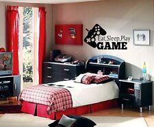 EAT SLEEP PLAY GAME BOY LETTERING DECAL WALL VINYL DECOR STICKER ROOM SPORTS