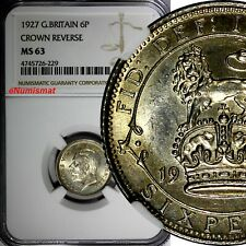 Great Britain George V (1910-1936) Silver 1927 6 Pence NGC MS63 CROWN KM# 828