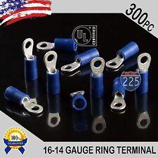 300 16-14 Gauge #6 Stud Blue Ring Terminals Connectors Crimp Tin Copper Core