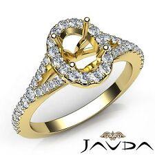 Diamond Engagement 18k Yellow Gold Halo U Cut Prong Oval 0.5Ct Semi Mount Ring