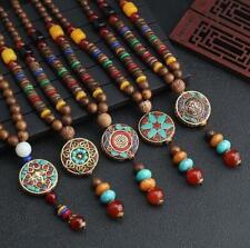 Retro Bodhi Wood Bead Pendant Necklace Women Men Long Sweater Chain Jewelry Gift