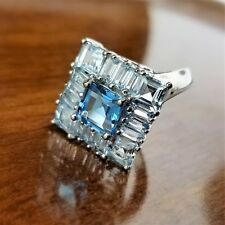 Princess Cut Blue Topaz & White Topaz Baguette Sterling 925 Statement Ring