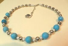 """925 Sterling & Faux Turquoise Bead Necklace Adjustable Up to 19"""" Long"""