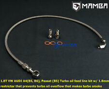 MAMBA VW AUDI A4 Passat 1.8T K03 K04 Turbo Oil Feed Line kit w/ 1.8mm restrictor