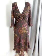 Nougat London ladies pure silk brown paisley pink flared tea dress boho hippy 8