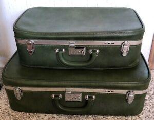 Vintage TMW Ventura Luggage Set 1950's Dark Green Army Green 2 Piece Set