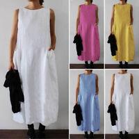 ZANZEA Women's Sleeveless Summer Tank Dress Casual Midi Dress Shirt Dress Plus