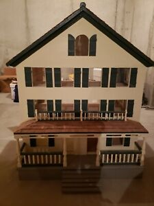 Vintage Wooden Three Story Colonial Dollhouse Furnished