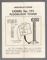 [53298] 1962 LIONEL TRAINS FLOODLIGHT TOWER No. 195 POCKET-SIZED INSTRUCTIONS