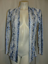 ALBERTO MAKALI Sweater Women's Size S Blue White Front Rayon Nylon LS Cardigan