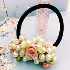 Pearl Pink Beads Elastic Hair Accessories Band Ring Rope Ties Ponytail Holder