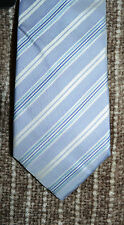 "NWT $95 Hugo Boss 3"" 7.5cm 100% Silk Stripe Neck Tie MADE IN ITALY Blue Silver"