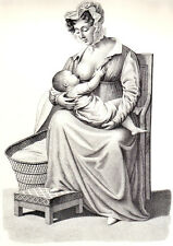 MOTHER NURSING BABY - Original 1844 vintage French lithograph
