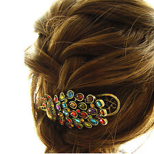 Betsey Rhinestone Peacock Hair Clip Bronze Gift