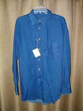 99275245 Men's Stubbs 5 oz Denim Long Sleeve Western Shirt NWT With Star Buttons  Size M