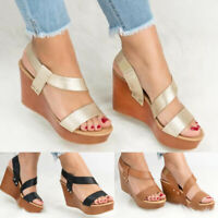Fashion Women's Ladies Strap Ankle Platform Sandals Hig Heel Wedges Shoes Size