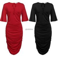 New Women Casual V-Neck Short Flare Sleeve Solid Plus Size Pleated Dress B98B