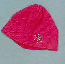 """Pink Knit Beanie Hat with Rhinestone Snowflake Fits 18"""" American Girl Dolls"""