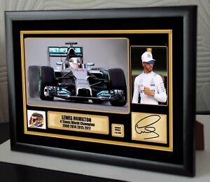 Lewis Hamilton F1 Mercedes 4 Times World Champion Framed Canvas Print Signed