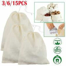 15pc Organic Cotton Nut Milk Bag Reusable Food Strainer Brew Coffee Cheese Cloth