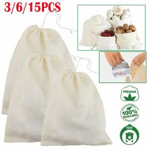 15pcs Nut Milk Bag Reusable Food Strainer Brew Coffee Cheese Cloth